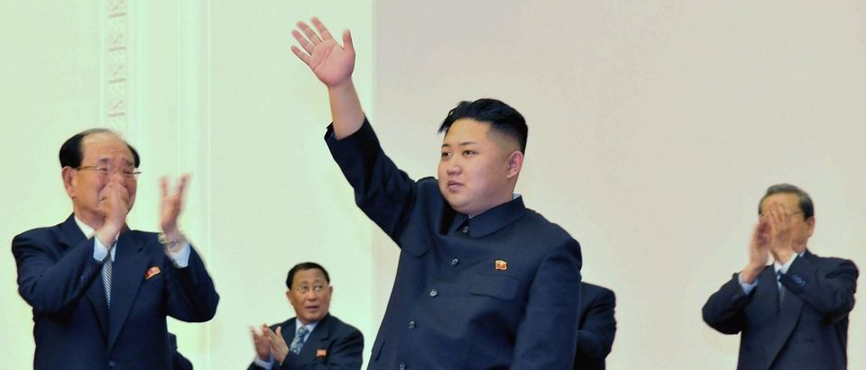 North Korean leader Kim Jong-Un waves during the Fourth Conference of the Workers' Party of Korea in Pyongyang