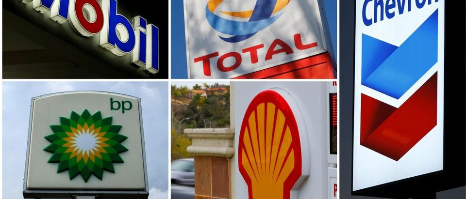 FILE PHOTO - A combination of file photos shows the logos of five of the largest publicly traded oil companies BP Chevron Exxon Mobil Royal Dutch Shell,and Total