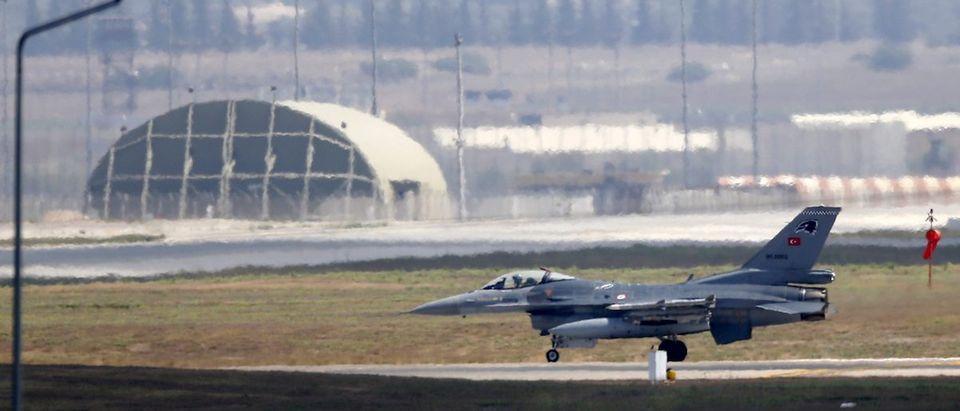 A Turkish Air Force F-16 fighter jet lands at Incirlik air base in Adana, Turkey
