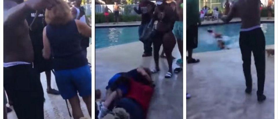 Woman thrown in pool (YouTube)
