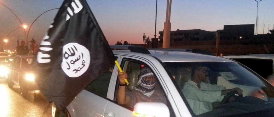 A fighter of the ISIL waves a flag as they celebrate in Mosul