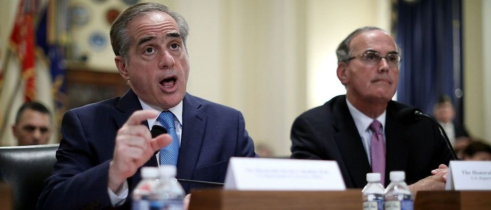 Veterans Affairs Secretary David Shulkin (L) testifies before the House Veterans Affairs Committee about ongoing reforms at the VA with VA Inspector General Michael Missal in the Cannon House Office Building on Capitol Hill March 7, 2017 in Washington, DC. Titled, 'Shaping the Future: Consolidating and Improving VA Community Care,' the hearing focused on the work the department is doing to reduce patient wait time with the Patient Centered Community Care and the Veterans Choice programs. Chip Somodevilla/Getty Images.