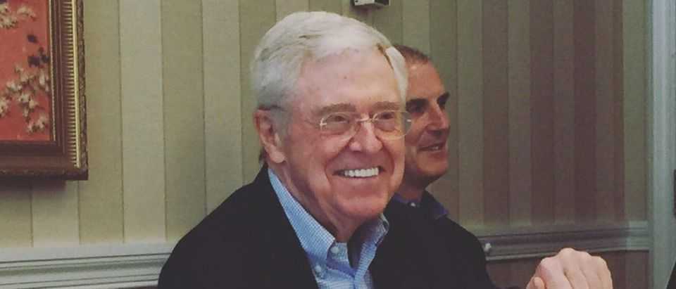 Charles Koch addresses reporters at The Broadmoor Hotel in Colorado Springs. (Robert Donachie/Daily Caller News Foundation)