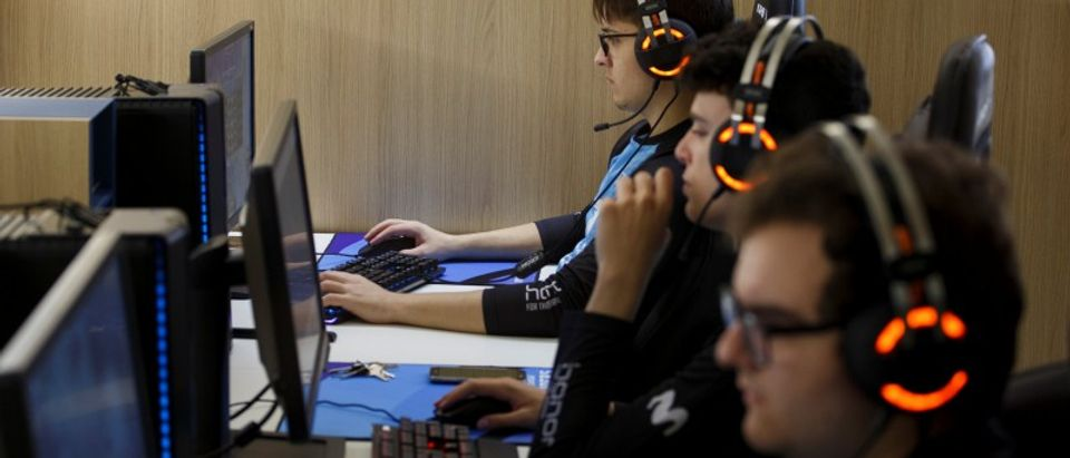 "Members of Movistar Riders ESports team train ""League of Legends"" video game at Movistar ESports Center in Madrid"