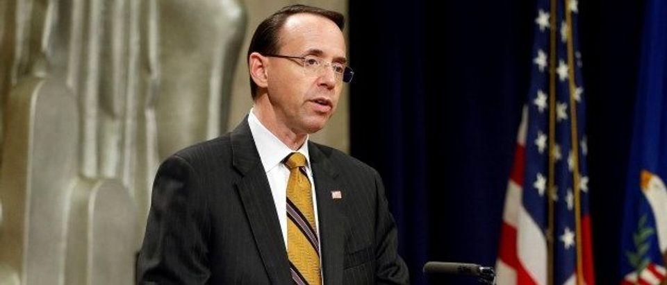 Deputy U.S. Attorney General Rosenstein speaks during National Missing Children's Day in Washington