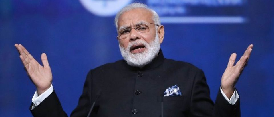 Indian Prime Minister Modi attends a session of the St. Petersburg International Economic Forum