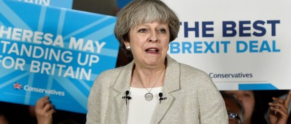 Britain's Prime Minister Theresa May speaks at an election campaign event at Thornhill Cricket and Bowling Club in Dewsbury
