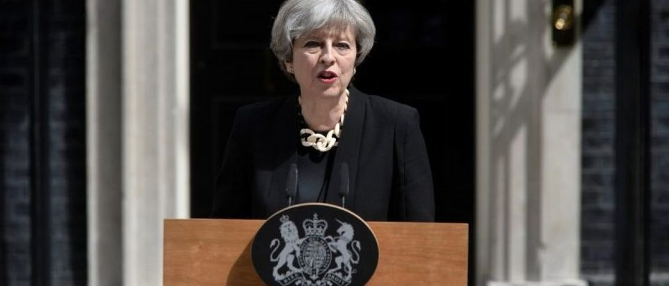 Britain's Prime Minister Theresa May speaks outside 10 Downing Street after an attack on London Bridge and Borough Market left 7 people dead and dozens injured in London