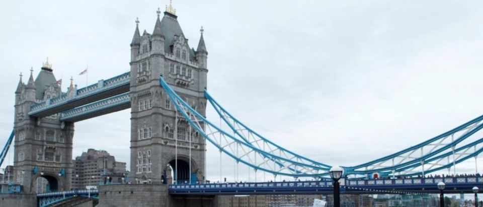 General view of Tower Bridge as people gather during an event for the victims of Saturday nights attacks
