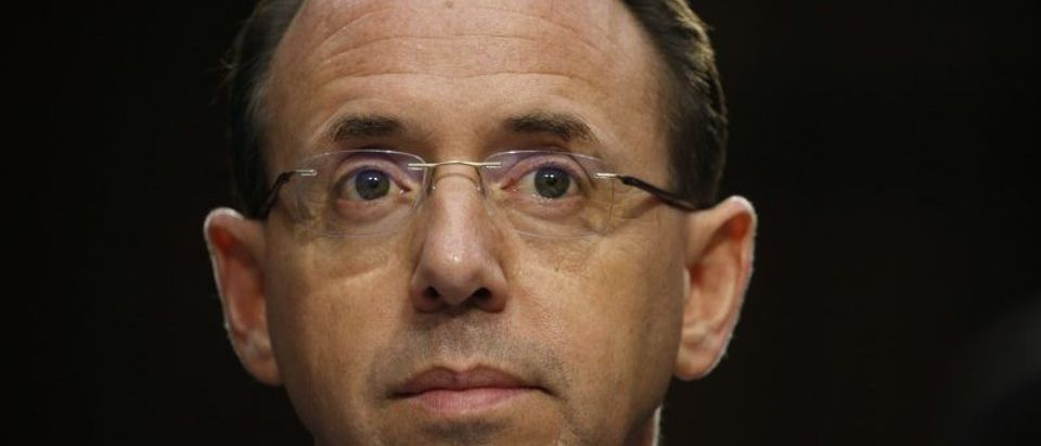Deputy Attorney General Rosenstein testifies before a Senate Intelligence Committee hearing on the Foreign Intelligence Surveillance Act on Capitol Hill in Washington