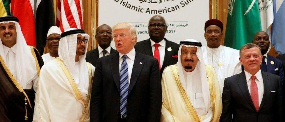 FILE PHOTO: Leaders pose for a photo during Arab-Islamic-American Summit in Riyadh