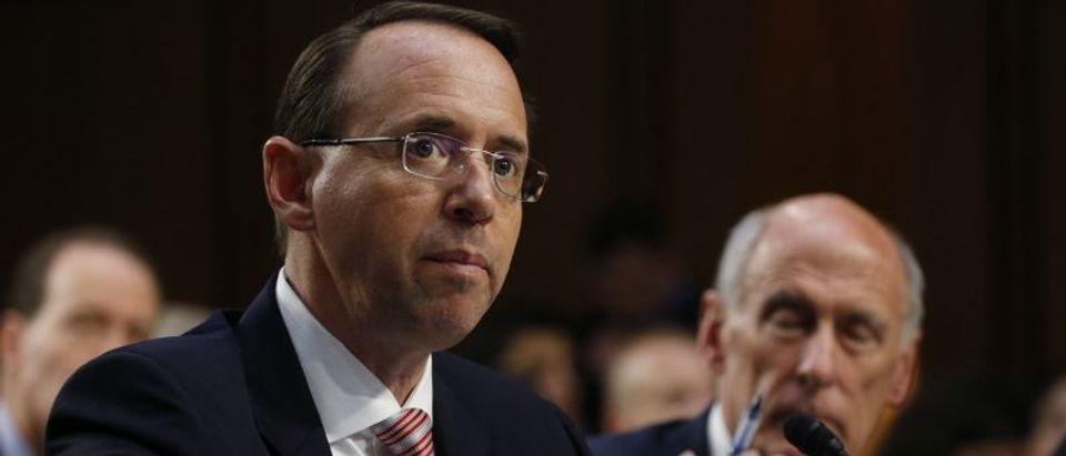 Deputy U.S. Attorney General Rosenstein testifies at a Senate Intelligence Committee hearing on Capitol Hill in Washington