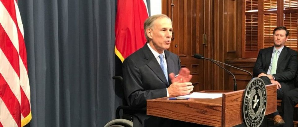 Texas Governor Greg Abbott speaks at a news conference in Austin