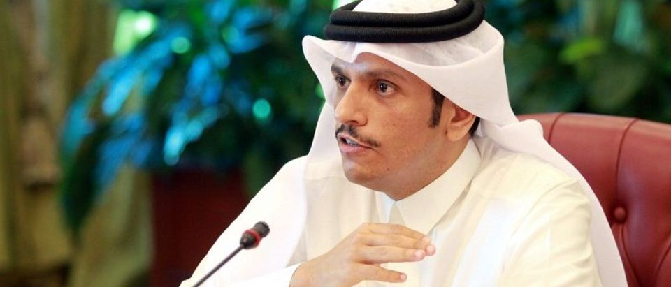 Qatar's foreign minister Sheikh Mohammed bin Abdulrahman al-Thani gestures as he speaks to reporters in Doha