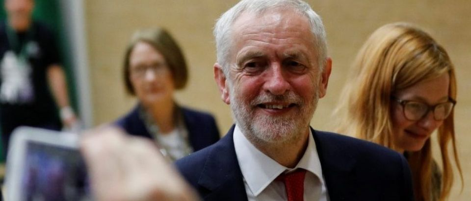 Jeremy Corbyn, leader of Britain's opposition Labour Party, reacts at a counting centre for Britain's general election in London
