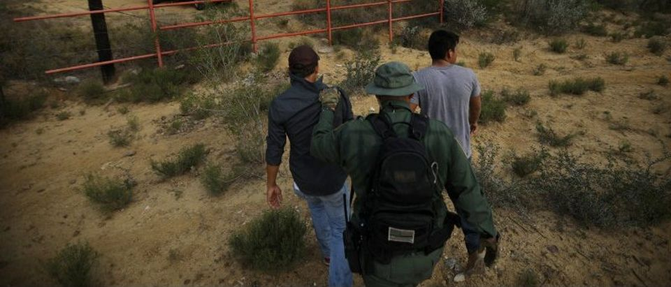 FILE PHOTO - A U.S. border patrol agent escorts men being detained after entering the United States by crossing the Rio Grande river from Mexico in Roma