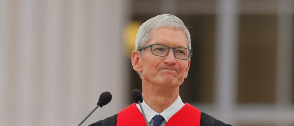 Apple CEO Tim Cook speaks during Commencement Exercises at MIT in Cambridge