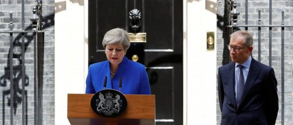 Britain's Primer Minister Theresa May addresses the country after Britain's election at Downing Street in London