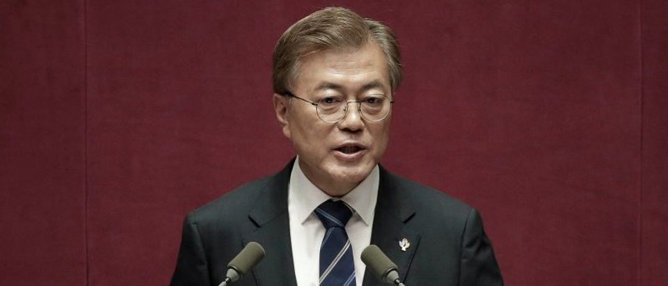 South Korean President Moon Jae-in delivers speech at the National Assembly in Seoul