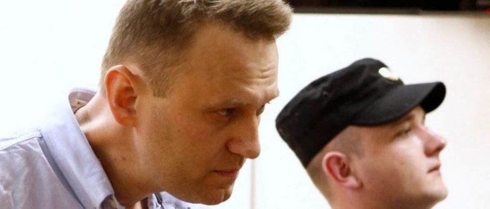 Russian opposition leader Navalny attends a hearing at a court in Moscow