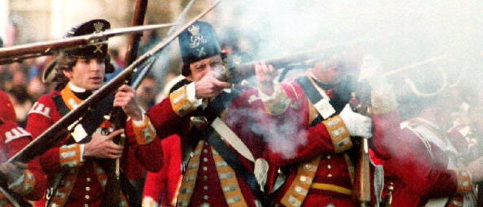 BOSTON, MA - APRIL 19: Actors portraying British red coats recreate the battle of Lexington where the first shot in the American Revolution was fired, 19 April 1993. The reenactment is an annual event on Patriots' Day in Massachusetts. (Photo credit should read HERB SWANSON/AFP/Getty Images)