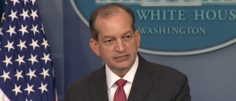 Labor Sec. Alex Acosta speaks at the White House press briefing June 12, 2017: (PBS NewsHour YouTube screenshot)