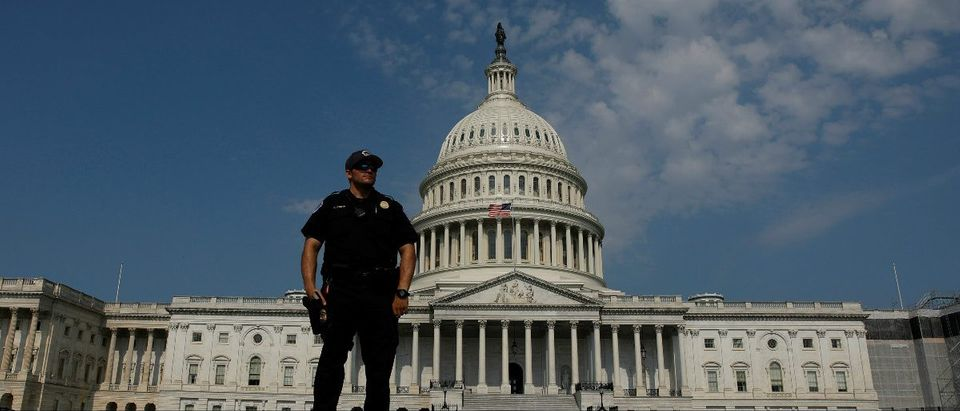 U.S. Capitol Police keep watch on Capitol Hill following a shooting in nearby Alexandria, in Washington, U.S., June 14, 2017. REUTERS/Aaron P. Bernstein