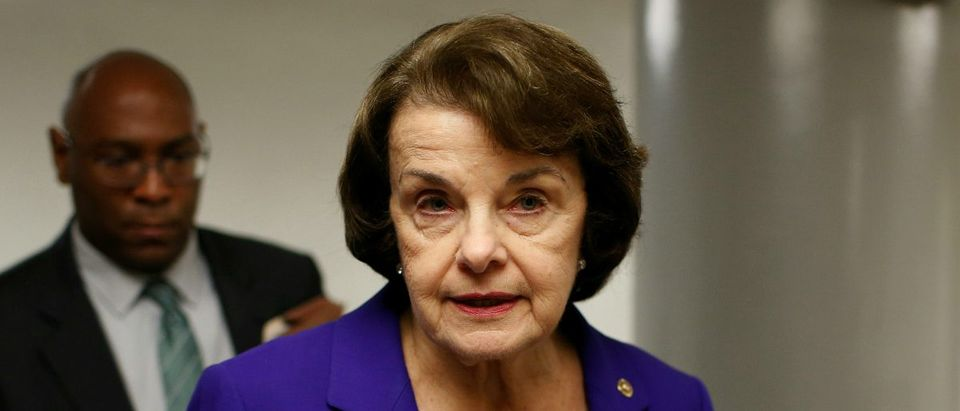 Senator Dianne Feinstein (D-CA) speaks to reporters at the U.S. Capitol in Washington, U.S., May 23, 2017. REUTERS/Joshua Roberts