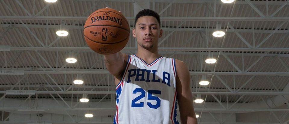 Ben Simmons #25 of the Philadelphia 76ers poses for a picture during media day on September 26, 2016 in Camden, New Jersey. (Photo by Mitchell Leff/Getty Images)