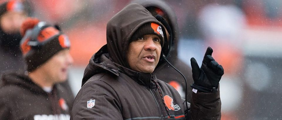 Head coach Hue Jackson of the Cleveland Browns during the first half against the Cincinnati Bengals at FirstEnergy Stadium on December 11, 2016 in Cleveland. (Photo by Jason Miller/Getty Images)