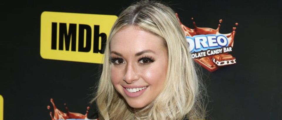 TV personality Corinne Olympios attends IMDb LIVE Viewing Party, presented by OREO chocolate candy bar on February 26, 2017 in Hollywood, California. (Photo by Joe Scarnici/Getty Images for IMDb.com)