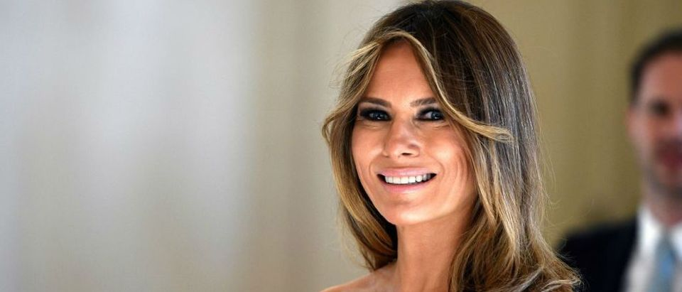 First Lady of the US Melania Trump arrives before a diner of the First Ladies and Queen at the Royal castle in Laken/Laeken, on May 25, 2017, in Brussels. (Photo credit: YORICK JANSENS/AFP/Getty Images)