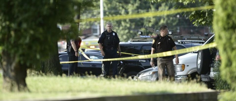 Police tape cordons off the scene of an early morning shooting in Alexandria, Virginia, June 14, 2017. Senior Republican Congressman Steve Scalise was among several victims shot and wounded at a baseball practice ahead of an annual game between lawmakers.Scalise was reportedly shot in the hip. Scalise is the majority whip who rallies Republican votes in the House of Representatives. / AFP PHOTO / Brendan Smialowski (Photo credit should read BRENDAN SMIALOWSKI/AFP/Getty Images)