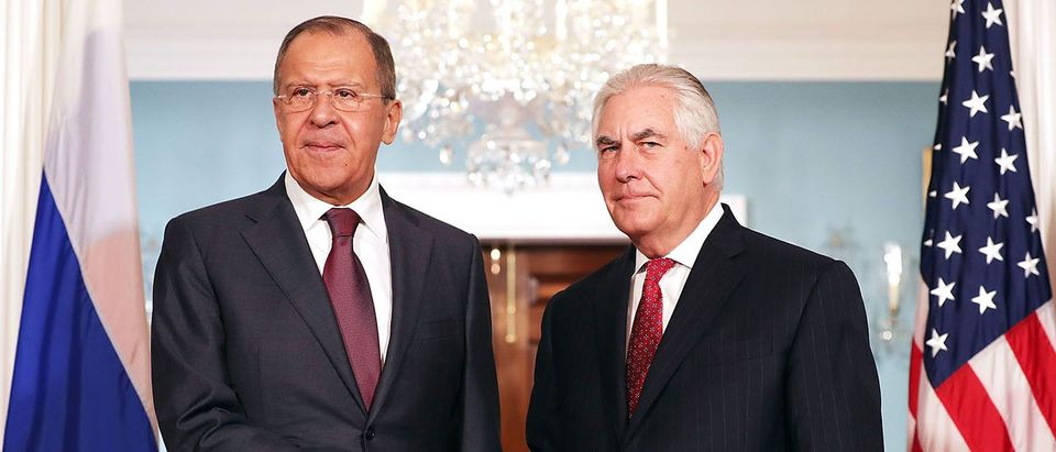 WASHINGTON, DC - MAY 10: Russian Foreign Minister Sergey Lavrov (L) and U.S. Secretary of State Rex Tillerson shake hands in the Treaty Room before heading into meetings at the State Department May 10, 2017 in Washington, DC. Tillerson is hosting Lavrov to discuss Syria, Ukraine and other bilaterial issues, according to the State Department. (Photo by Chip Somodevilla/Getty Images)