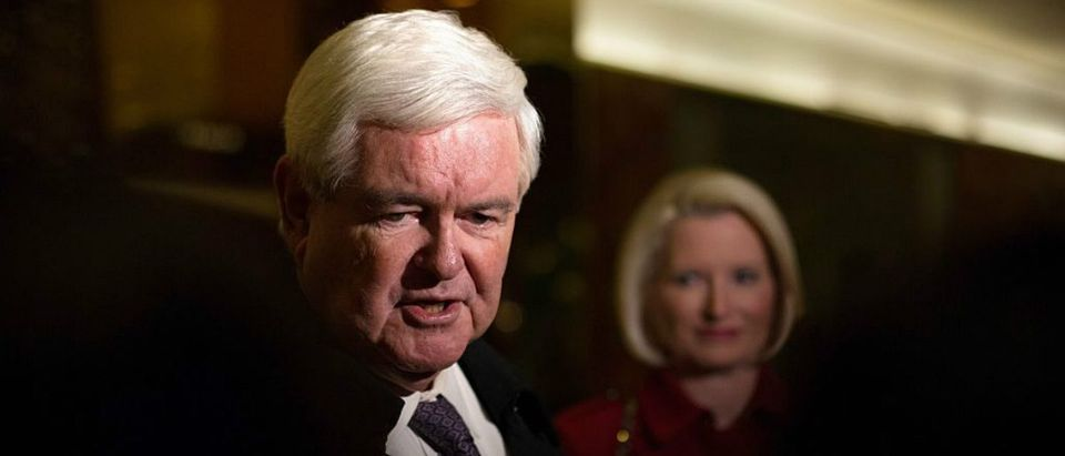 Former U.S. Rep. Newt Gingrich, with his wife Callista, addresses the press following meeting at Trump Tower (Kevin Hagen/Getty Images)