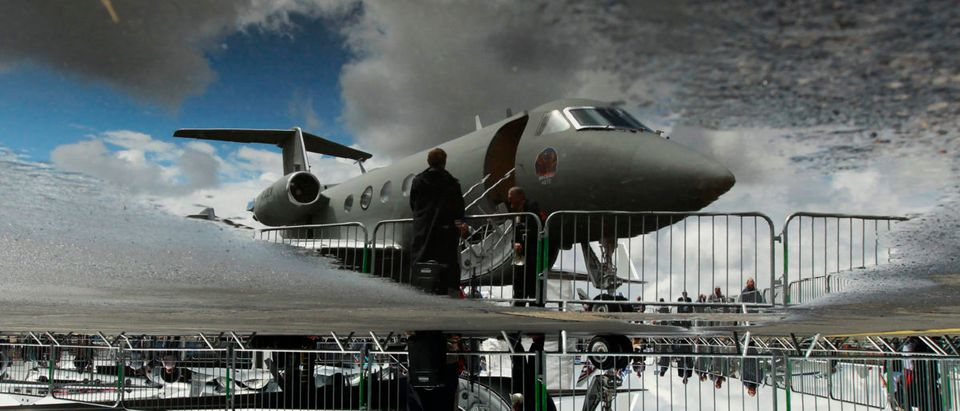 This jet is a Gulfstream G3 business jet being shown at the Farnborough Airshow in Farnborough in July 2010. (Photo Credit/REUTERS)