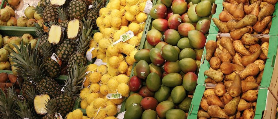 Organic pineapples, lemons, mangos and pears are pictured in an organic supermarket in Berlin
