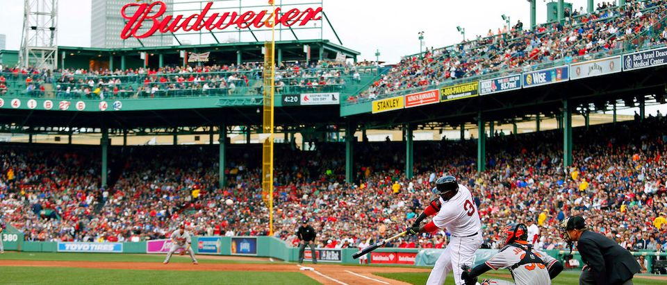 David Ortiz hits a single in the first inning of a 2015 game against the Baltimore Orioles at Fenway Park (Winslow Townson-USA TODAY Sports via REUTERS)