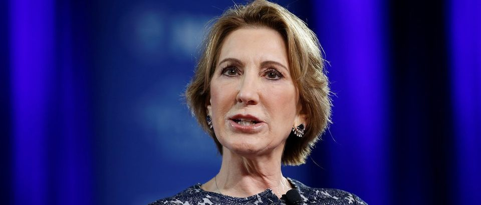 Former Republican presidential candidate Carly Fiorina speaks at the Conservative Political Action Conference in Oxon Hill, Maryland