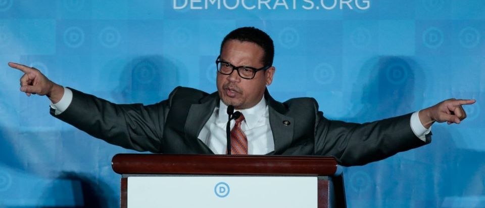 Democratic National Chair candidate, Keith Ellison, addresses the audience as the Democratic National Committee holds an election to choose their next chairperson at their winter meeting in Atlanta, Georgia. February 25, 2017. REUTERS/Chris Berry