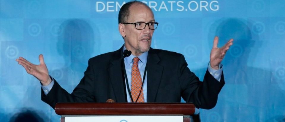 Democratic National Chair candidate, Tom Perez, addresses the audience as the Democratic National Committee holds an election to choose their next chairperson at their winter meeting in Atlanta