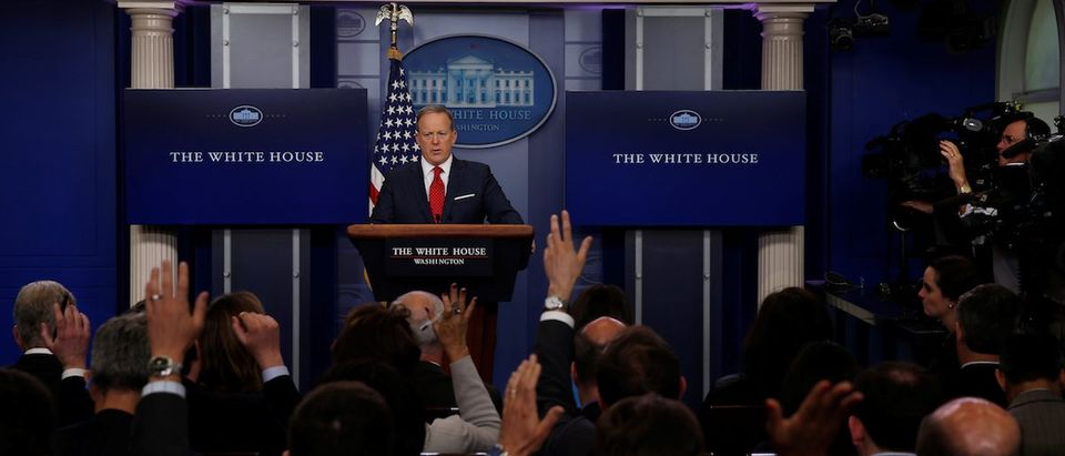 White House Press Secretary Sean Spicer holds his daily briefing at the White House in Washington, U.S. May 3, 2017. REUTERS/Jonathan Ernst - RTS150FC