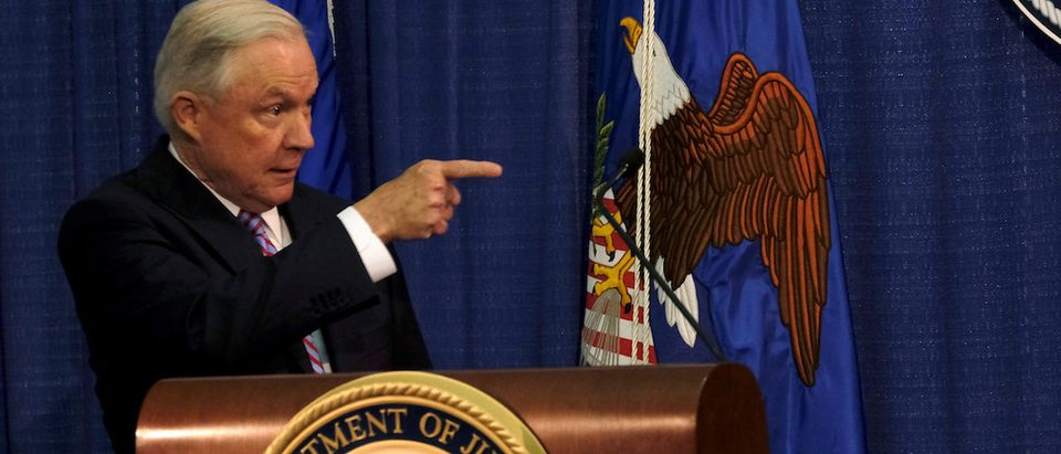 U.S. Attorney General Jeff Sessions gestures after delivering opening remarks at the Justice Department's 2017 Hate Crimes Summit in Washington