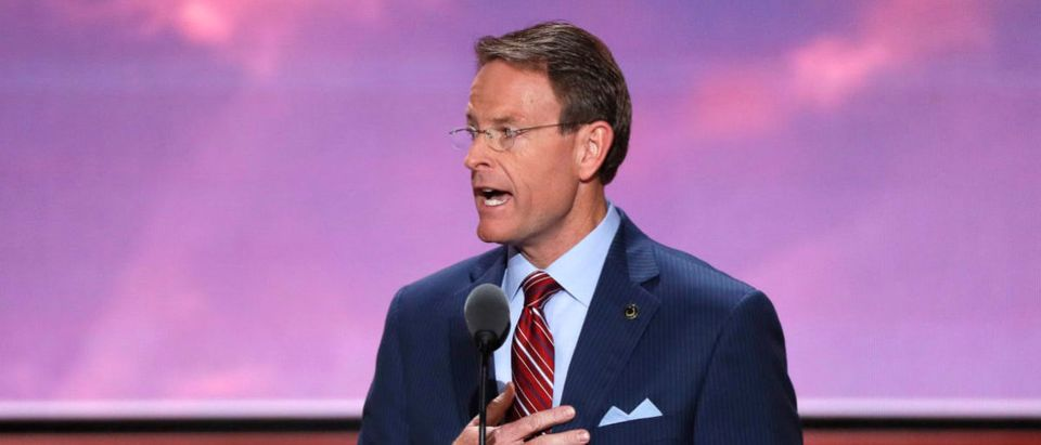 Tony Perkins of the Family Research Council leads the U.S. Pledge of Allegiance at start of the final day of the Republican National Convention in Cleveland, Ohio, U.S. July 21, 2016. REUTERS/Mike Segar