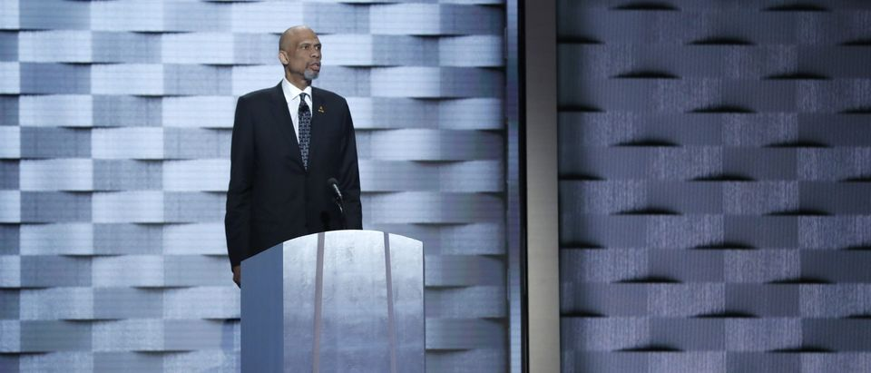Retired NBA basketball star Kareem Abdul-Jabaar speaks on the fourth and final night at the Democratic National Convention in Philadelphia