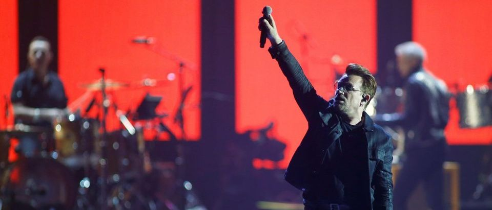 Bono of U2 performs during the iHeartRadio Music Festival at The T-Mobile Arena in Las Vegas