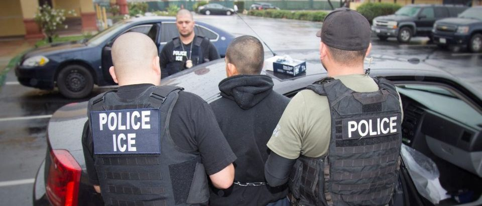 U.S. Immigration and Customs Enforcement (ICE) officers detain a suspect as they conduct a targeted enforcement operation in Los Angeles, on February 7, 2017. Courtesy Charles Reed/U.S. Immigration and Customs Enforcement via REUTERS