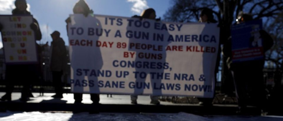 Gun control activists rally in front of the White House in Washington