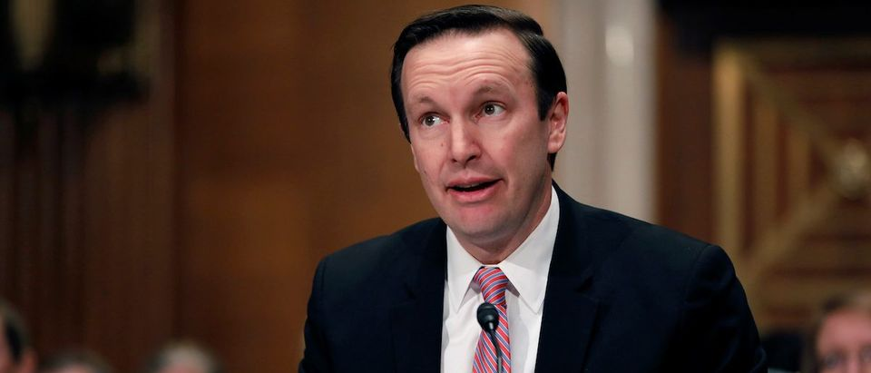 Senator Chris Murphy (D-CT) introduces Dr. Scott Gottlieb before a Senate Health Education Labor and Pension Committee confirmation hearing on his nomination to be commissioner of the Food and Drug Administration on Capitol Hill in Washington