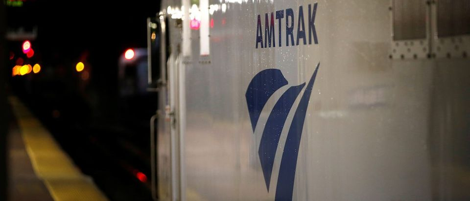 An Amtrak engine sits next to a platform in New York's Penn Station, the nation's busiest train hub, where Amtrak says they will begin repairing a complex of tracks over the summer in New York City